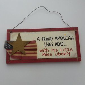 Americana Proud American Lives Here Hanging Sign